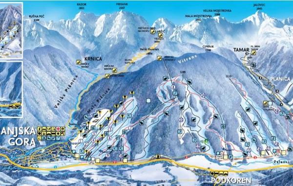 Ski mapa Krajnska Gora, Lyžovačka v Slovinsku s CK m.s.t.t.